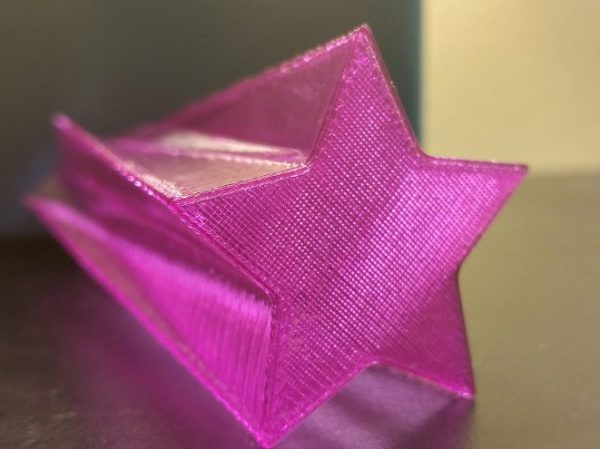 Star Vase printed with transparent purple AMZ3D PLA